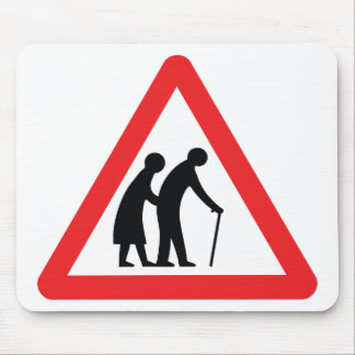 CAUTION Elderly People - UK Traffic Sign Mouse Mat