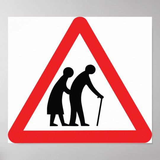 CAUTION Elderly People - UK Traffic Sign Poster