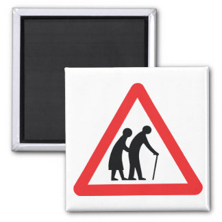 CAUTION Elderly People - UK Traffic Sign Square Magnet