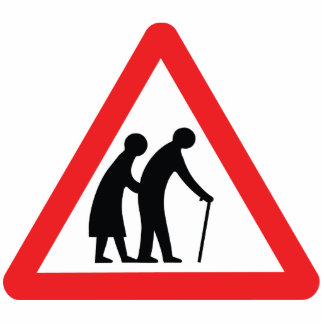 CAUTION Elderly People - UK Traffic Sign Standing Photo Sculpture