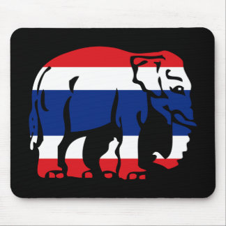 Caution Elephant Crossing Thai Flag Road Sign Mouse Mat