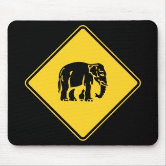 Caution Elephants Crossing ⚠ Thai Road Sign ⚠ Mouse Mat