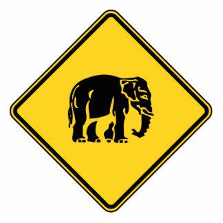 Caution Elephants Crossing ⚠ Thai Road Sign ⚠ Standing Photo Sculpture