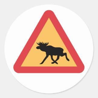 Caution Elks, Traffic Sign, Sweden Round Sticker
