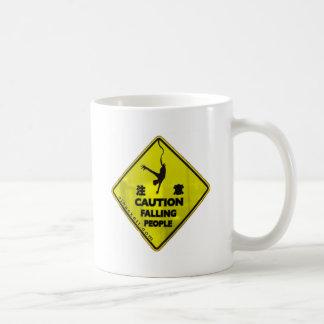 Caution Falling People Basic White Mug