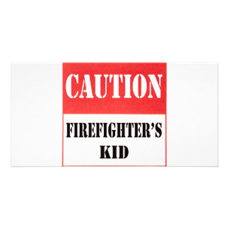 caution- firefighter s kid photo cards