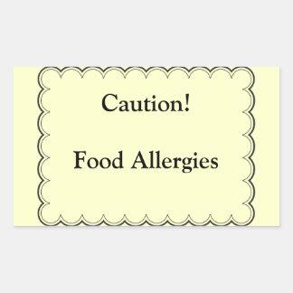 Caution! Food Allergies Rectangular Sticker