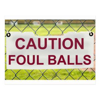Caution Foul Balls Sign Postcard