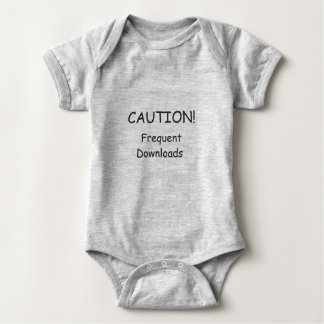 """Caution! Frequent Downloads"" 6 month One Piece Baby Bodysuit"