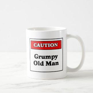 Caution Grumpy Old Man Basic White Mug