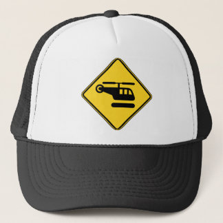 Caution Helicopter Sign Trucker Hat