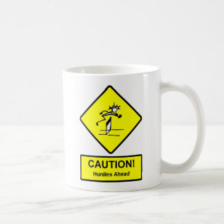 Caution Hurdles Ahead road sign Track and Field Coffee Mugs