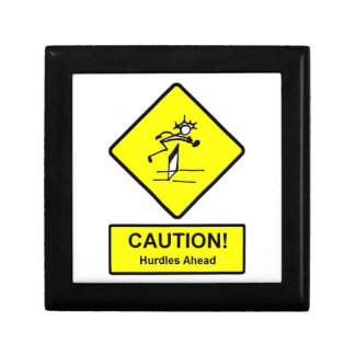 Caution Hurdles Ahead road sign Track and Field Small Square Gift Box