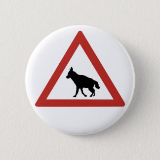 Caution Hyenas 1, Traffic Warning Sign, Namibia 6 Cm Round Badge