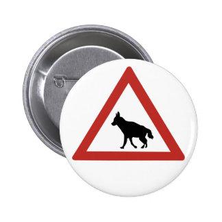 Caution Hyenas 1, Traffic Warning Sign, Namibia 6 Cm Round Badge