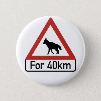Caution Hyenas 2, Traffic Warning Sign, Namibia 6 Cm Round Badge