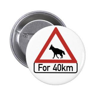 Caution Hyenas 2, Traffic Warning Sign, Namibia Pinback Button