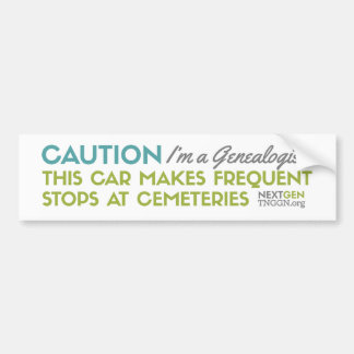 Caution I'm a Genealogist Bumper Sticker