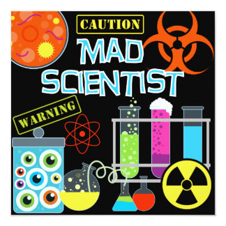 Caution Mad Scientist Birthday Party Invitation