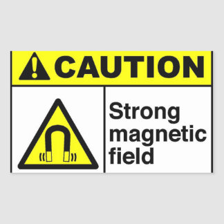 CAUTION Magnetic field Rectangular Sticker