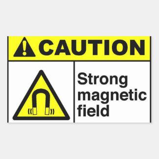 CAUTION Magnetic field Rectangular Sticker