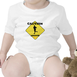 Caution Male Jogger Baby Bodysuits