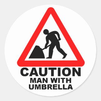 Caution Man With Umbrella Round Sticker