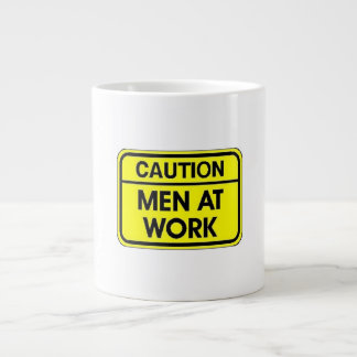caution men at work jumbo mug