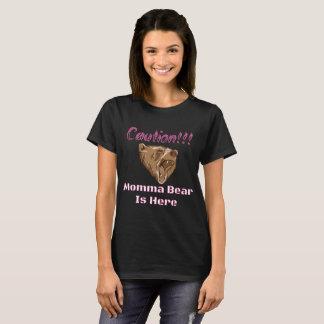 Caution Momma Bear Pink T-Shirt