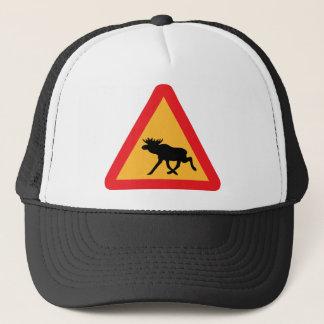 Caution Moose Swedish Traffic Sign Trucker Hat