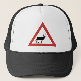 Caution Oryx, Traffic Warning Sign, Namibia Trucker Hat