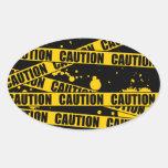 Caution! Oval Sticker