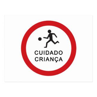 Caution Playing Children, Traffic Sign, Brazil Postcard