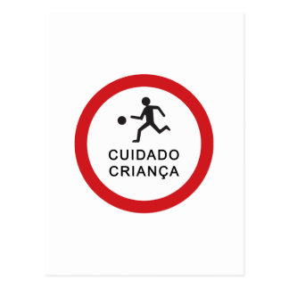 Caution Playing Children, Traffic Sign, Brazil Postcard