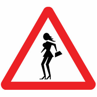 Caution Prostitute (Attenzione Prostitute) Sign Standing Photo Sculpture