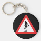 Caution Prostitute Traffic Road Sign Key Ring
