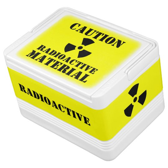 Caution RADIOACTIVE MATERIAL Label Halloween Props Igloo Cool