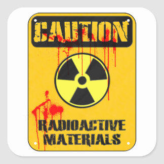 Caution Radioactive Material Square Sticker