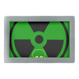 Caution Radioactive Sign With Skull Belt Buckles