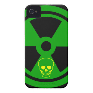 Caution Radioactive Sign With Skull iPhone 4 Case-Mate Cases