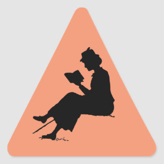 CAUTION: Reading! Triangle Sticker