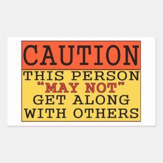 Caution Rectangular Sticker