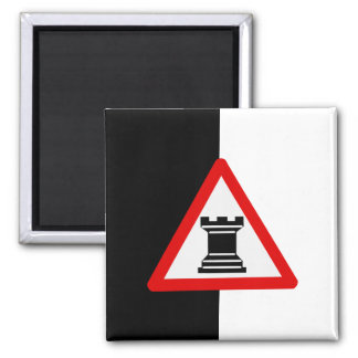Caution: Rook Chess Piece Sign Square Magnet
