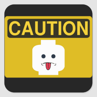 CAUTION RUDE MINIFIG HEAD by Customize My Minifig Square Stickers