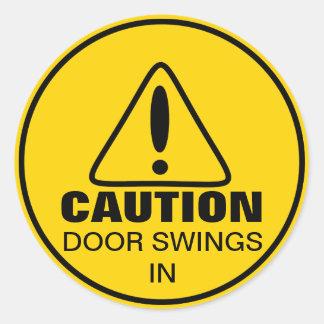 Caution Sign Door Swings In Classic Round Sticker