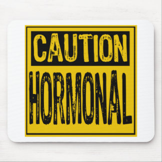Caution Sign - Hormonal Yellow/Black Mouse Pads