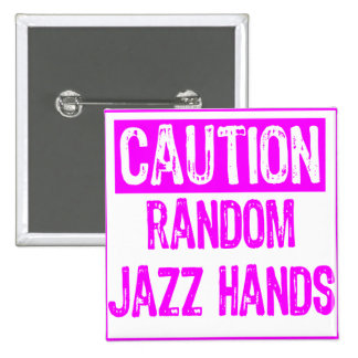 Caution Sign-  Jazz Hands Purple 15 Cm Square Badge