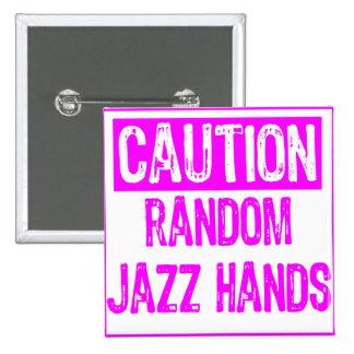 Caution Sign-  Jazz Hands Purple Pinback Buttons