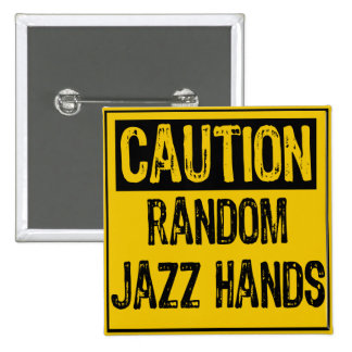 Caution Sign- Random Jazz Hands Yellow Black 15 Cm Square Badge