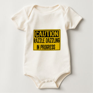 Caution Sign-Razzle Dazzle Them In Progress-Bk/Yl Baby Bodysuit